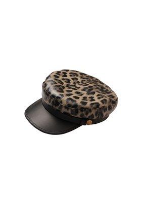Cap leer leopard grijs