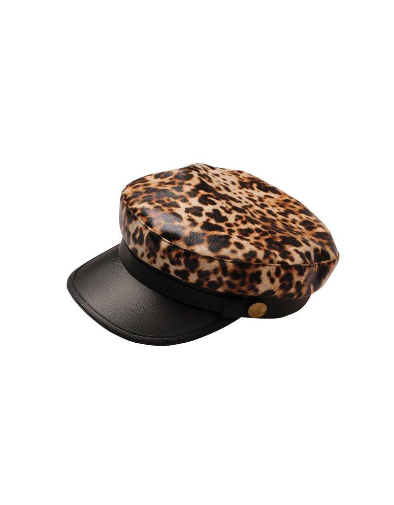 Cap leer leopard bruin