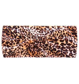 Haarband velvet leopard bruin