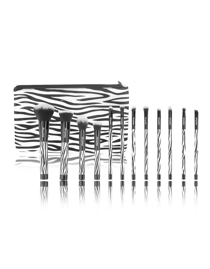 Boozyshop Make up kwasten set van 12 zebra