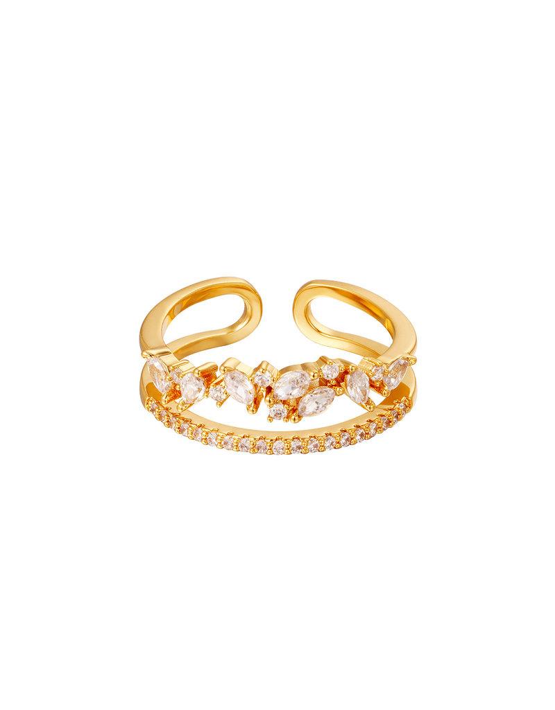 Ring goud met zirkonia steentjes