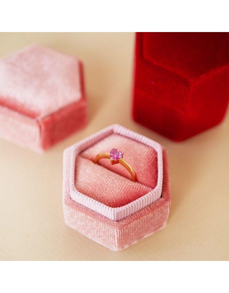 Velvet ring box roze