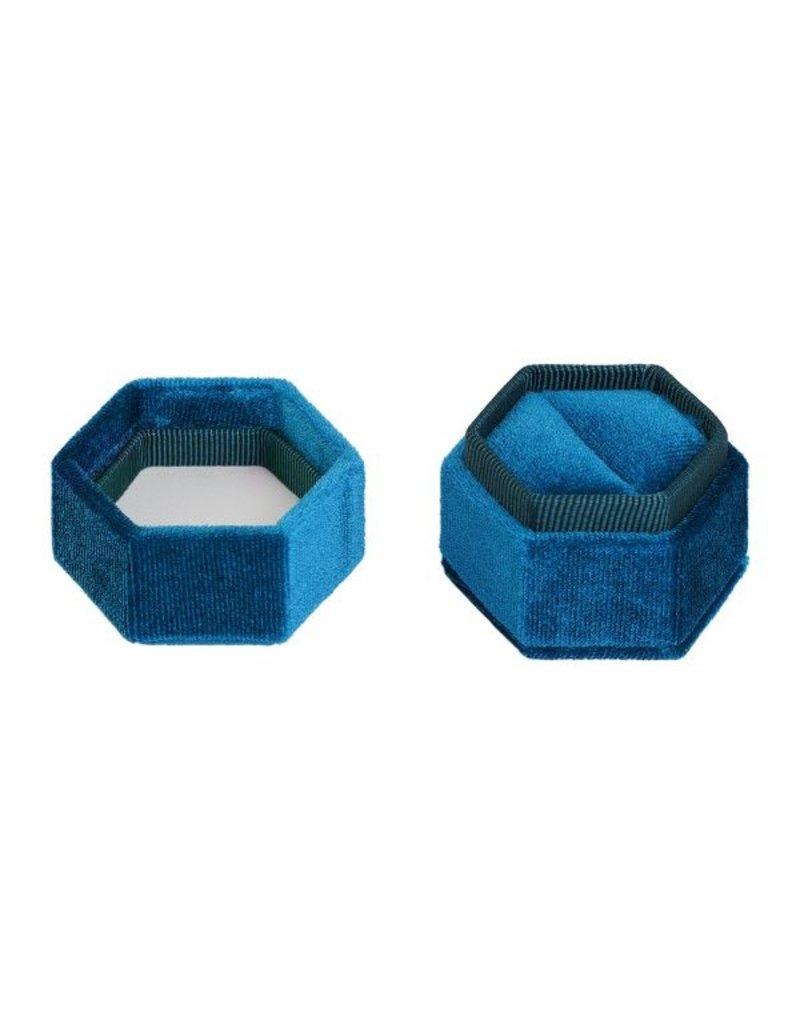 Velvet ring box blauw