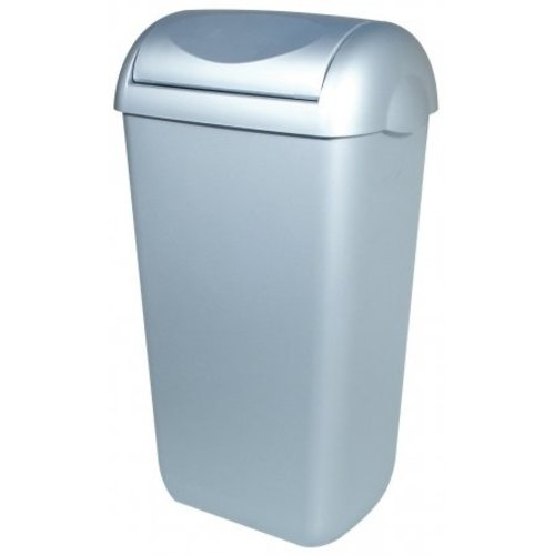 PlastiQline Waste bin plastic stainless steel look 23 liter swing