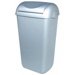 PlastiQline Waste bin plastic stainless steel look 43 liter swing