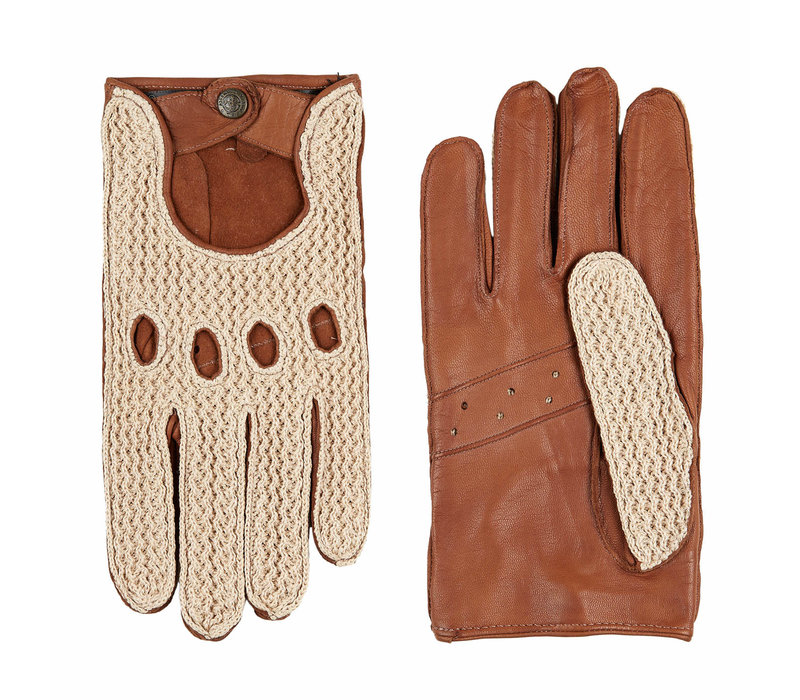 Leather men's driving gloves with crochet upperhand model Chicago