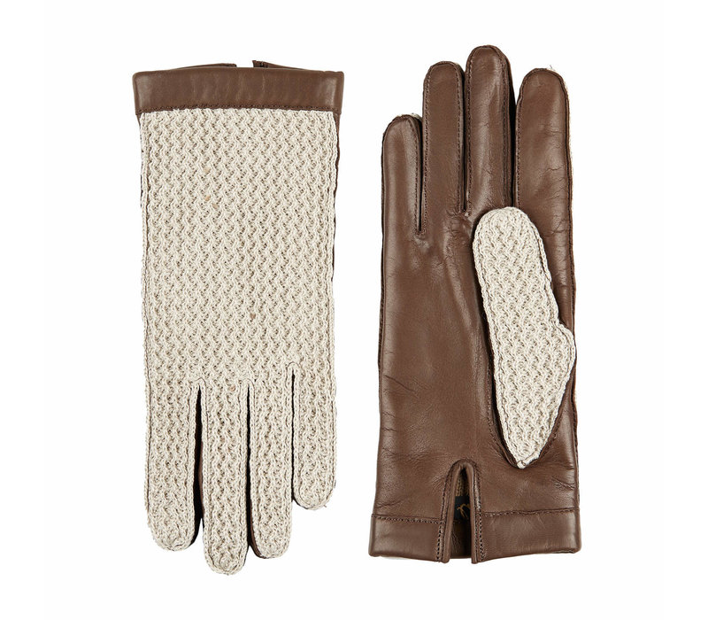 Laimböck leather ladies glove with crocheted upper hand model Oxford