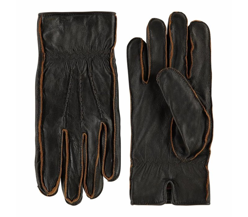 Leder Herren Handschuhe mit Vintage-Look Modell Noja