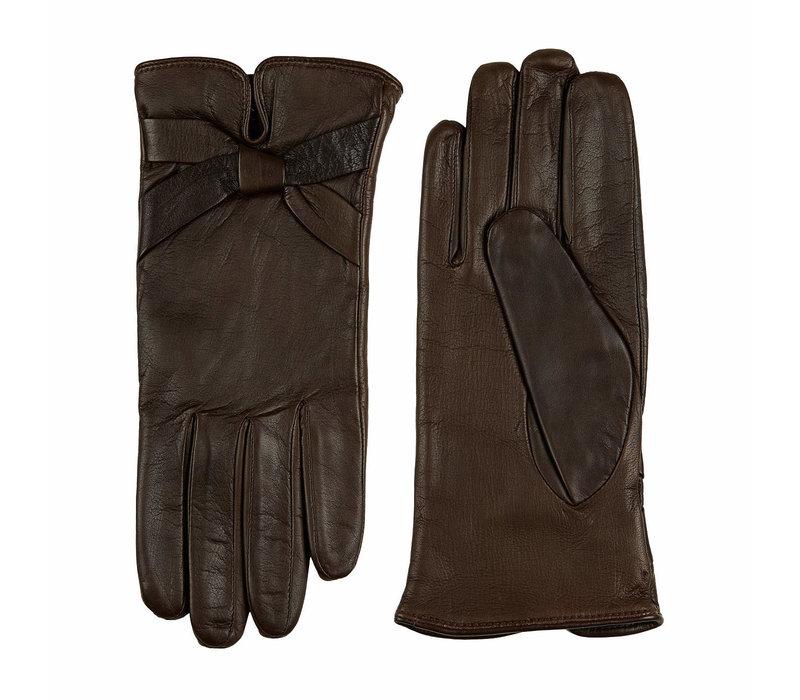 Leren dames handschoenen met strik model Bardolino