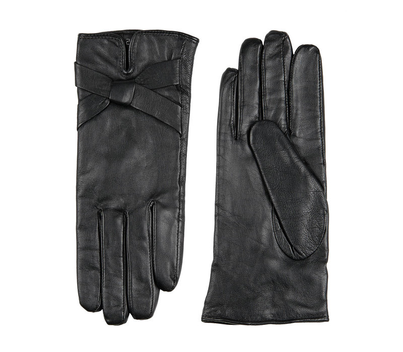 Leather ladies gloves with bow model Bardolino