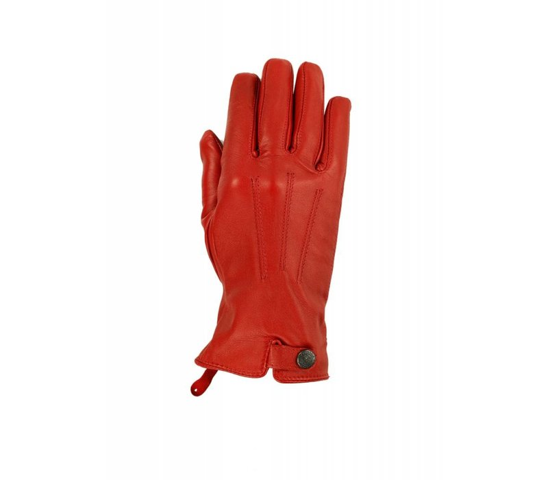 Leather ladies gloves with strap and press stud model Scarlino