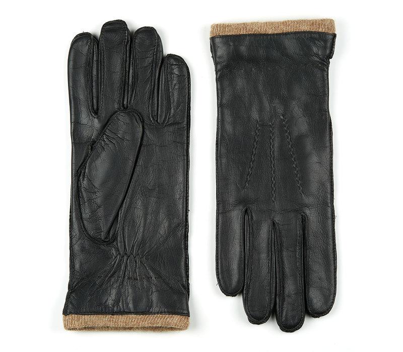 Leren heren handschoenen model Iscar ,dit model is extra lang en heeft een wollen manchet en heeft een warme gebreide wollen voering