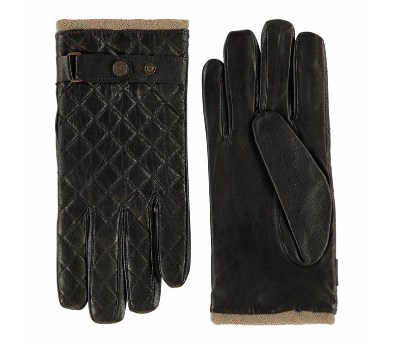 Leren heren handschoenen model Blacos uitgevoerd in zacht nappaleer ,doorgestikt ruitmotief op bovenhand met bandje en drukknoop