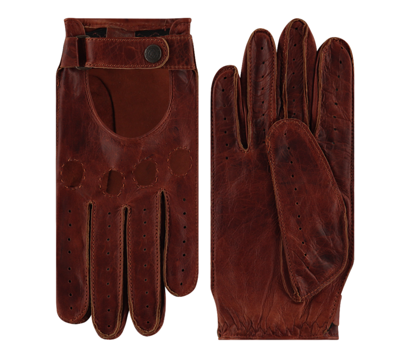Leather men's driving gloves model Forster