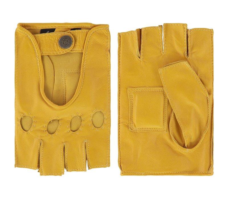 Leren heren autohandschoenen met halve vingers, model Sydney