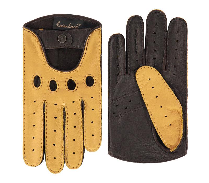 Two-tone deer leather men's driving gloves model Popoli