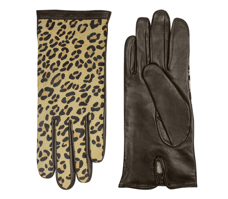 Leather ladies gloves with leopard print model Isaba