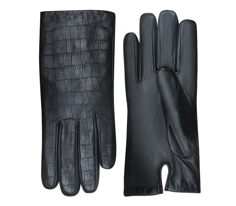 Leather ladies gloves with crocodile leather print model Lianes