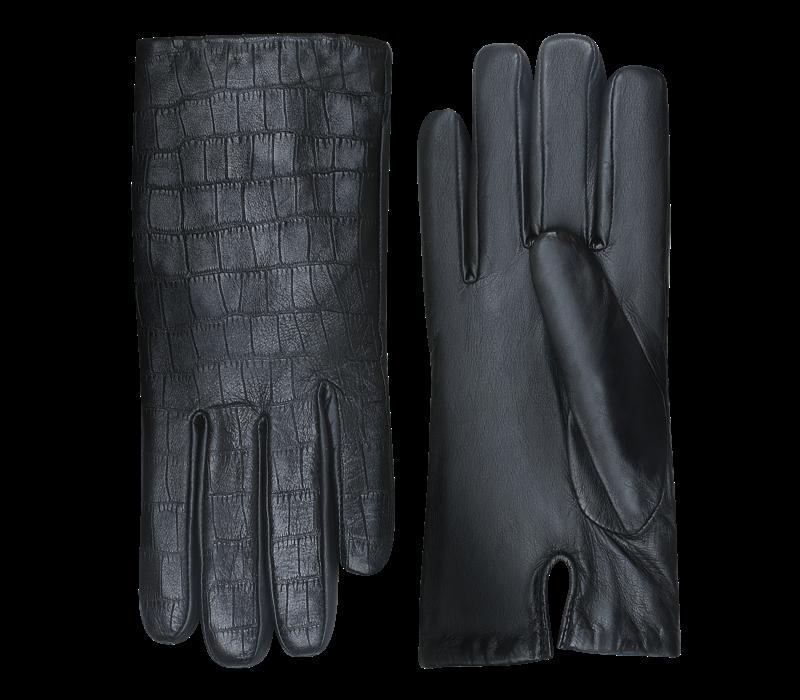 Leren dames handschoenen met krokodillenleer print model Lianes