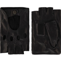 Leather men's driving gloves with half fingers model Sydney