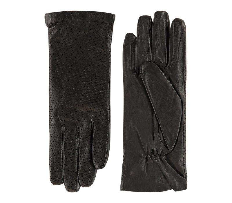Leren ongevoerde dames handschoenen met geperforeerde bovenhand model Acapulco