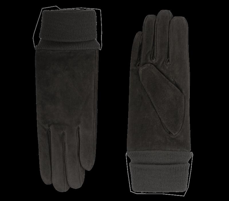 Suède dames handschoen met gebreide boord model Alicante