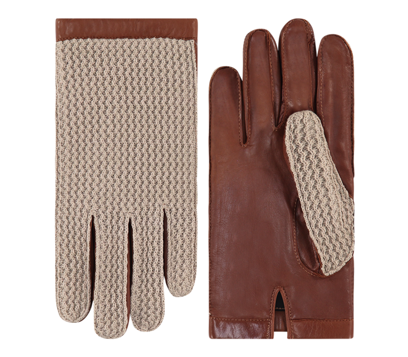 Leather ladies gloves with crochet upper hand model Cambridge