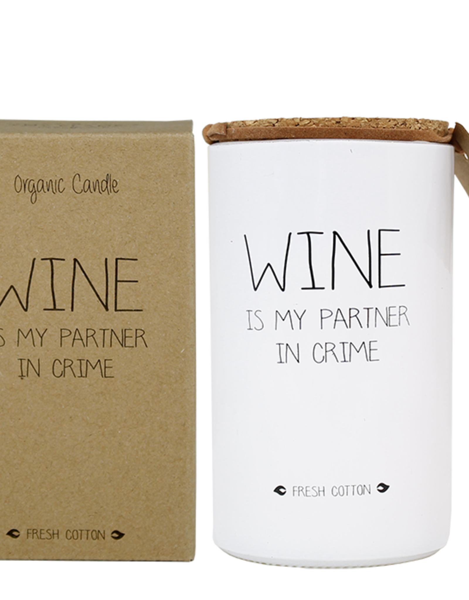 My flame Lifestyle SOJAKAARS – WINE IS MY PARTNER IN CRIME – GEUR: FRESH COTTON