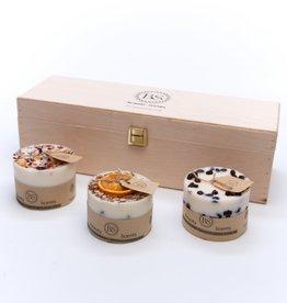 BEAUTY SCENTS CANDLES Geschenkset van kleine 3 verschillende kaarsen