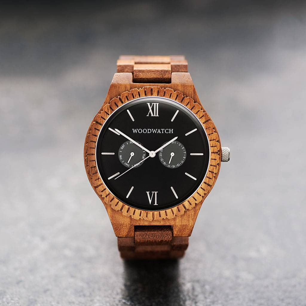 This premium designed watch combines unique new handcrafted wood types with luxurious stainless steel dials and backplates. At the heart of the new timepieces comes an all new multi-function movement that includes two extra subdials featuring a week and m