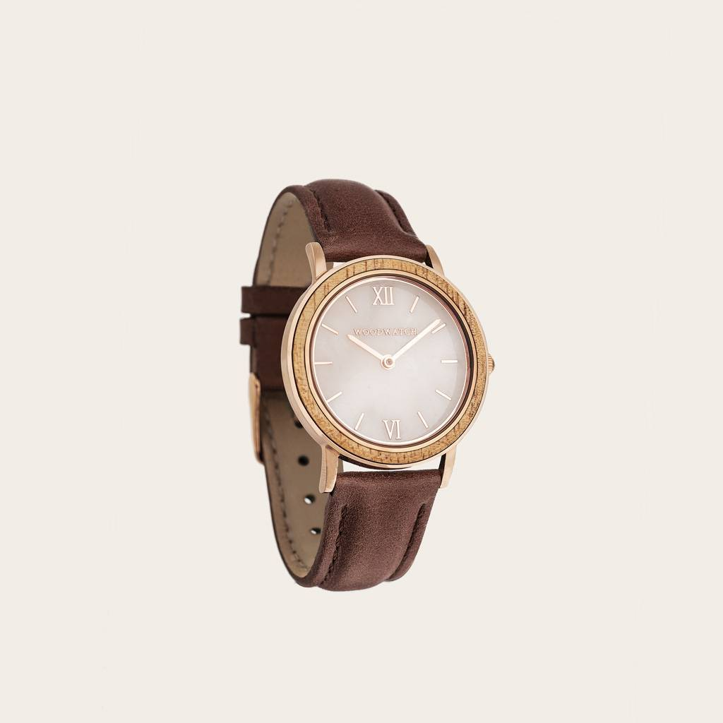 woodwatch women wooden watch minimal collection 34 mm diameter sky sunset marble blush petite acacia wood brown leather band