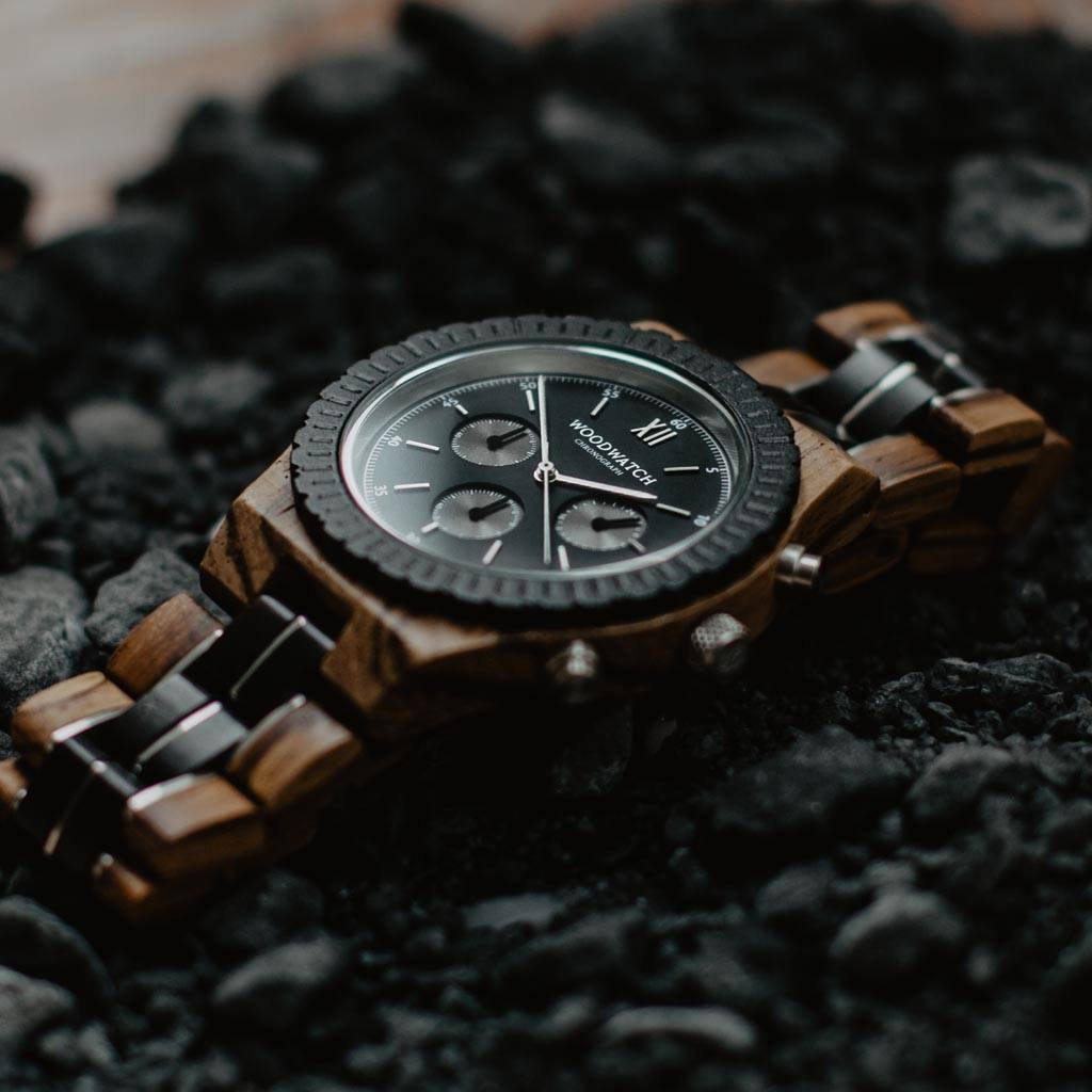 Prepare for adventure with our fully featured, hand-crafted Chronograph wrist watch. This premium design watch features a 45mm zebra case, black stainless steel dial and a SEIKO VD54 movement. The unique new strap combines sustainable ebony and zebra wood