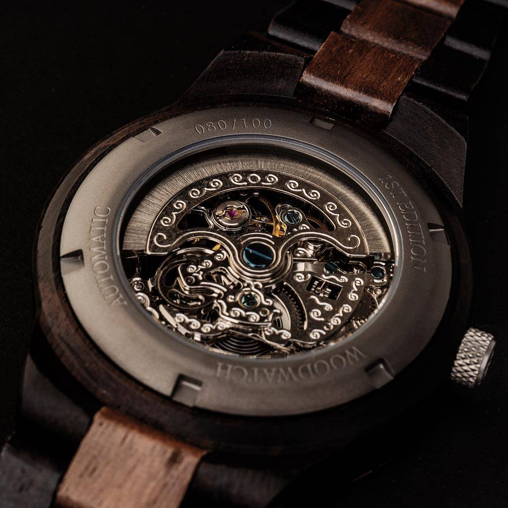 Our Limited 1st Edition AUTOMATIC Navigatorfeatures a 21 jewel self-winding automatic mechanical movement with a 36 hours power reserve. The open heart (see-through) dial has a sapphire coated glass on top and a backplate that is engraved with a unique n