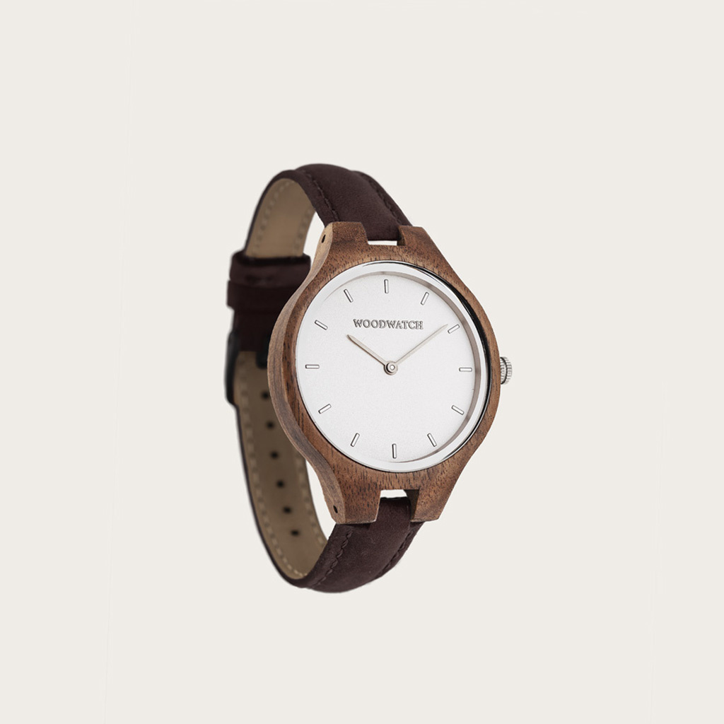woodwatch women wooden watch aurora collection 36 mm diameter silver moon hickory acacia wood