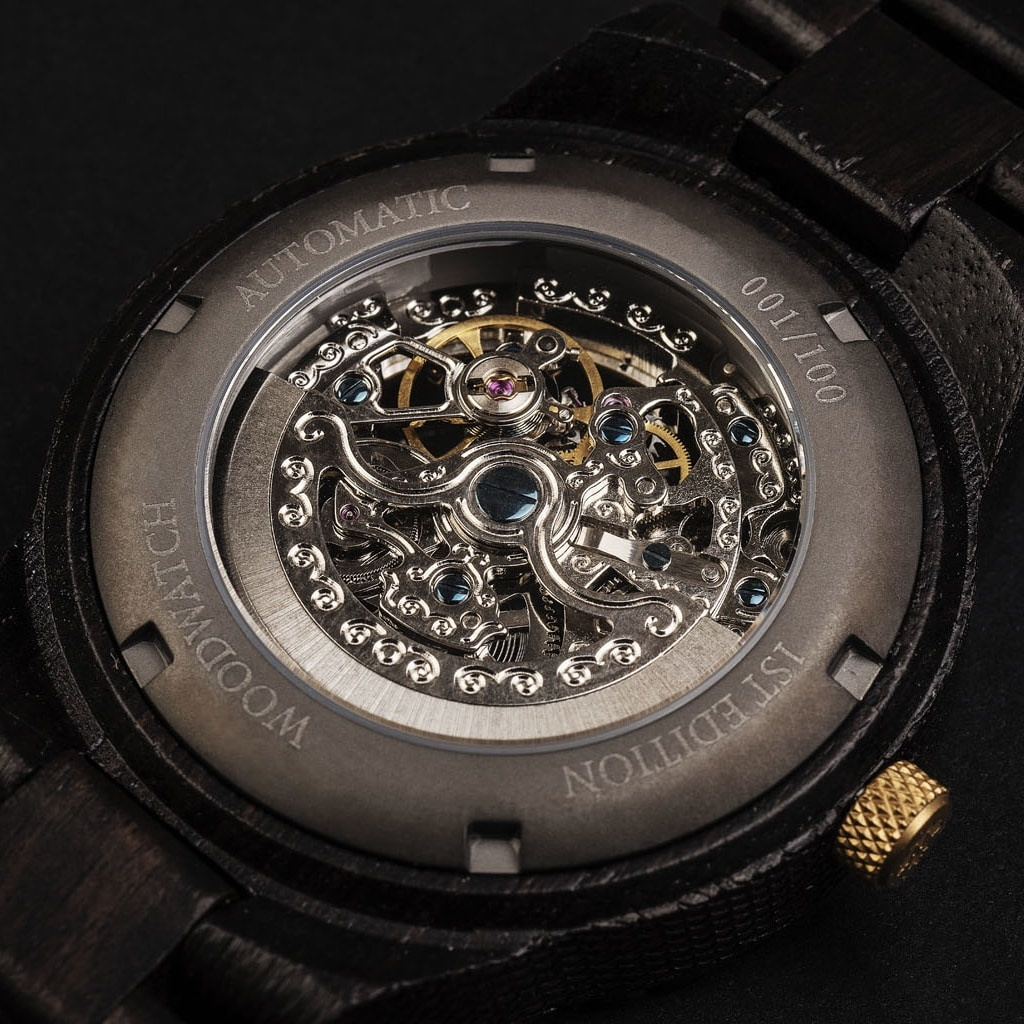 Our Limited 1st Edition AUTOMATIC Voyagerfeatures a 21 jewel self-winding automatic mechanical movement with a 36 hours power reserve. The open heart (see-through) dial has a sapphire coated glass on top and a backplate that is engraved with a unique num