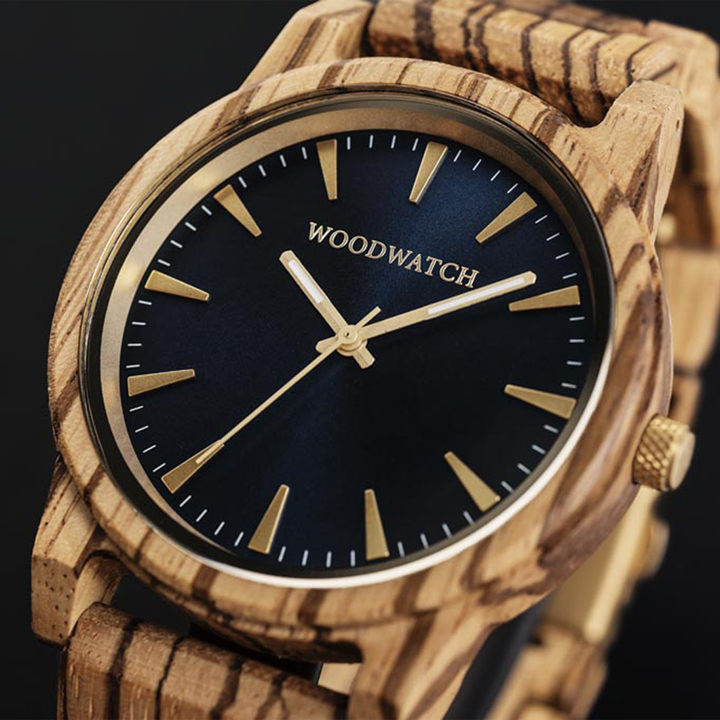The Hyde Zebra features a modernized minimal dark blue dial with bold details in a 45mm case. A wrist essential combining natural wood with stainless steel and sapphire coated glass. The Hyde Zebra is handmade from natural Zebra wood from Central Africa.