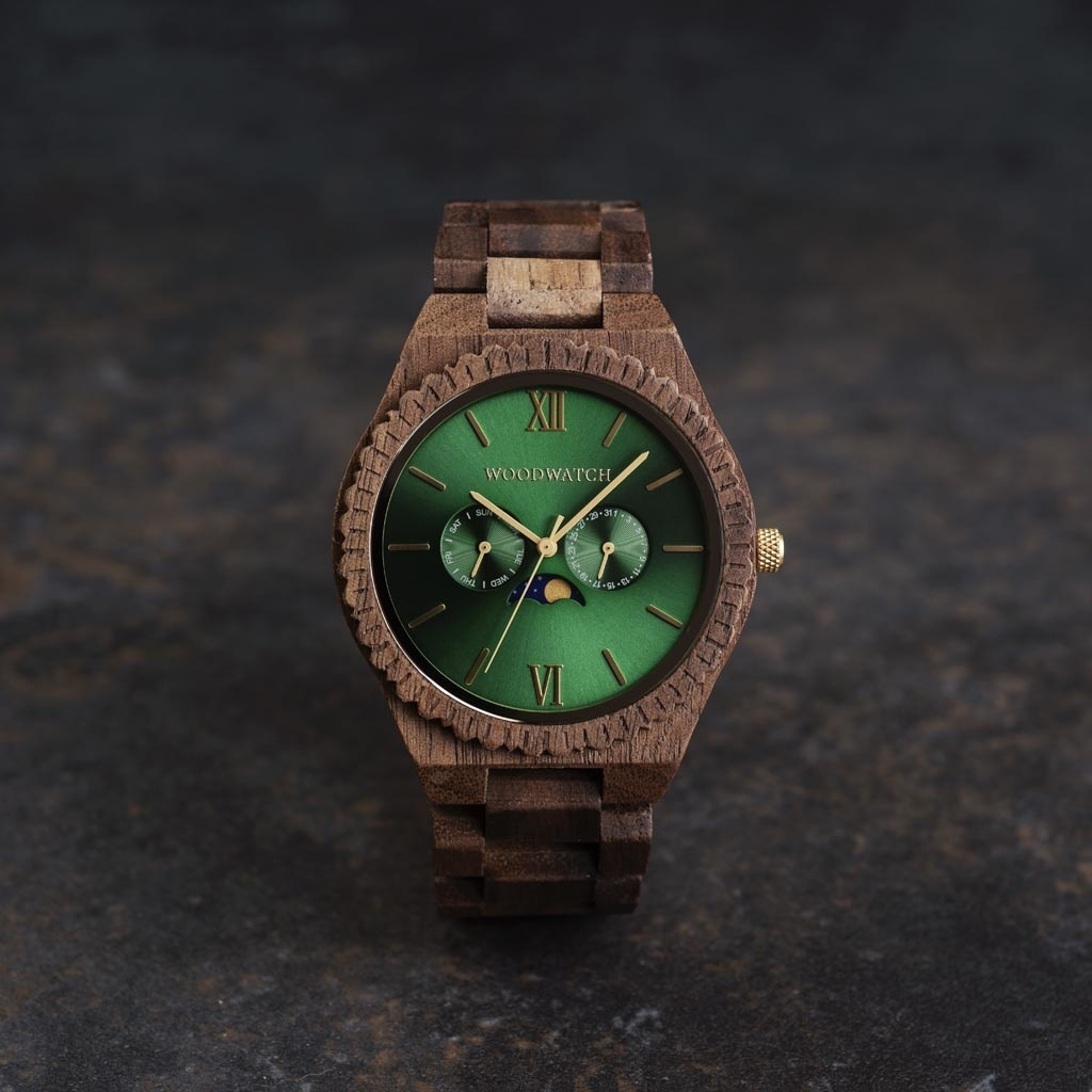 This premium designed watch with moon phase, combines unique walnut wood type with a luxurious stainless steel dial and backplate. At the heart of the timepiece comes an all new multi-function movement that includes two extra subdials featuring a week and