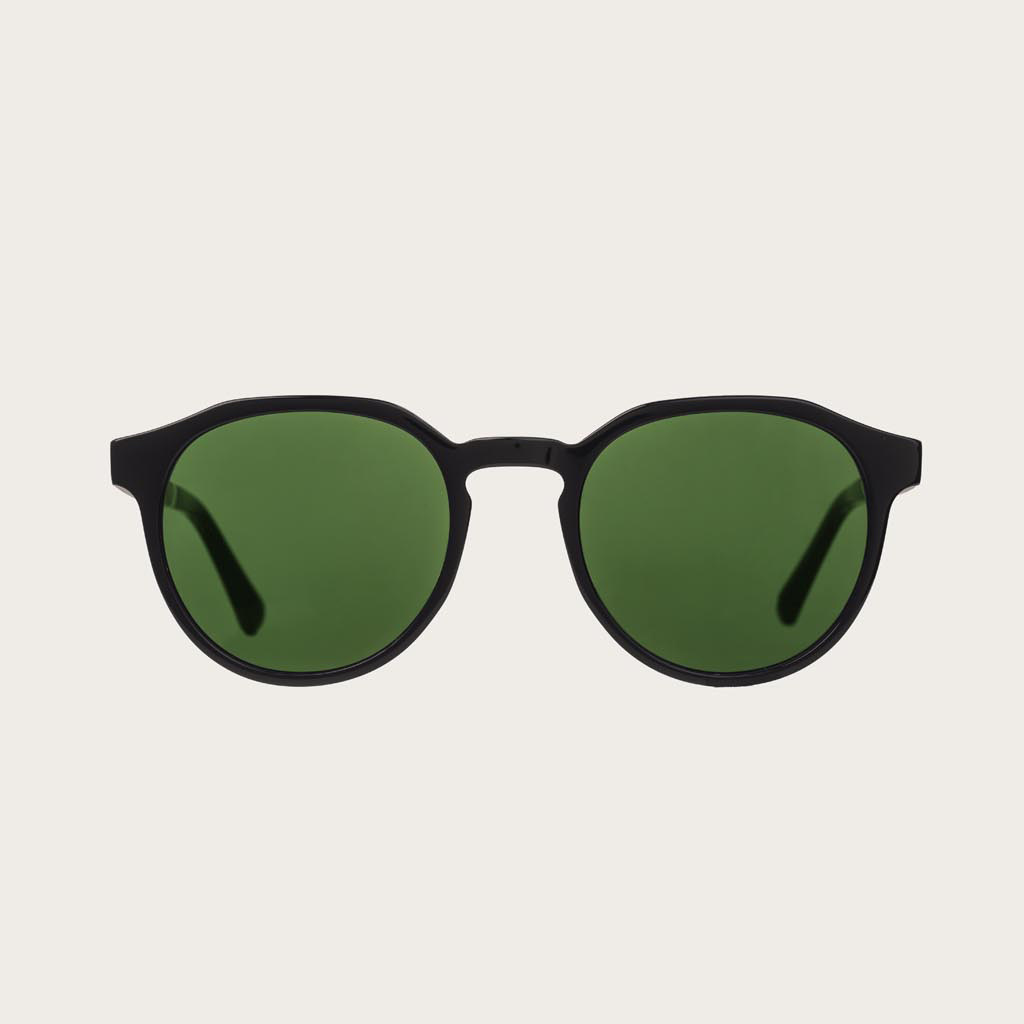 The REVELER Black Camo features a sleek geometric black frame with green camo lenses. Composed of durable Italian Mazzucchelli bio-acetate with hand-finished natural rosewood temples and black acetate tips. Bio-acetate is made from cotton and organic resi