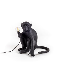 Seletti Tafellamp Sitting Monkey Zwart Outdoor