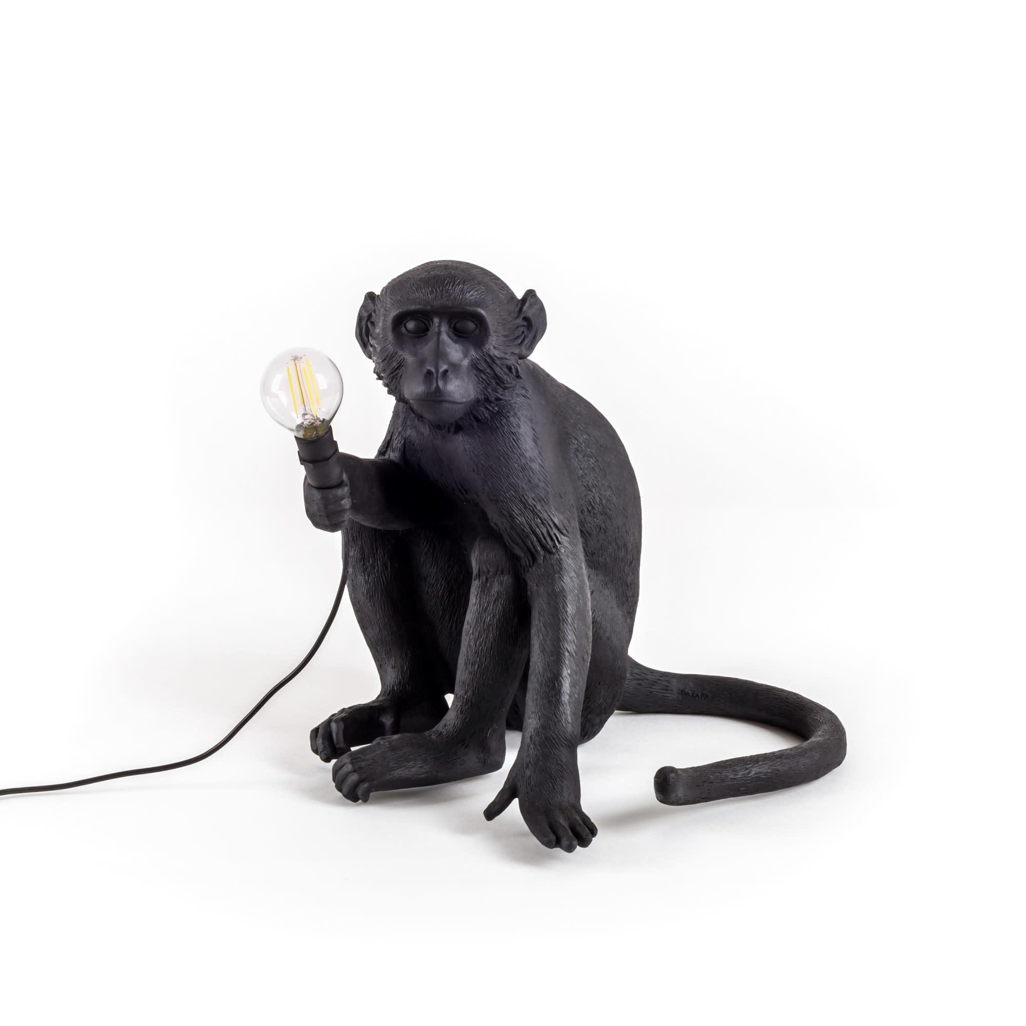 Seletti Seletti Tafellamp Sitting Monkey Zwart Outdoor
