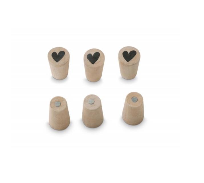 vtwonen vtwonen Magneet Cone Heart Hout (set van 6)