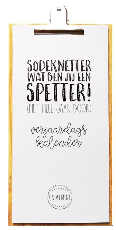 """ON MY MINT ONMYMINT Verjaardagskalender """"sodeknetter"""""""