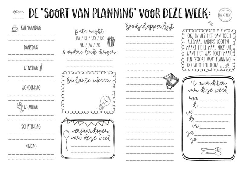 "ON MY MINT ONMYMINT Weekplanner ""soort van planning"""