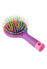 Galante Haarborstel met gekleurde pennen en een spiegel, plastic, glass, 15x7,7x3,5cm, 3 colors