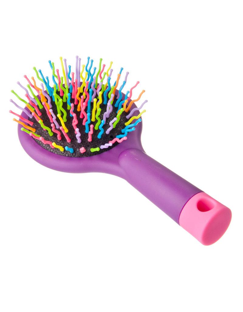 Haarborstel met gekleurde pennen en een spiegel, plastic, glass, 15x7,7x3,5cm, 3 colors