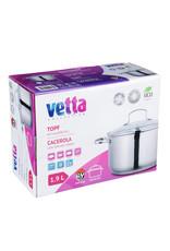 Vetta Vetta - RVS Kookpan 1.9Lmet glazen deksel