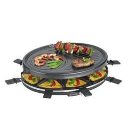 Bomann Bomann RG2247CB Raclette Grill + 8 Pannen en 8 Spatels Zwart