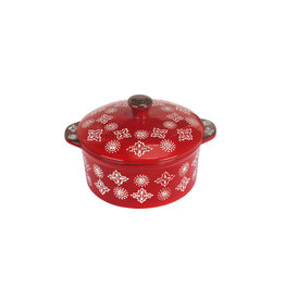 Millimi Millimi - Keramisch ovenschaaltje rond met handgrepen en deksel - rood- 13,5x6cm - Keramiek