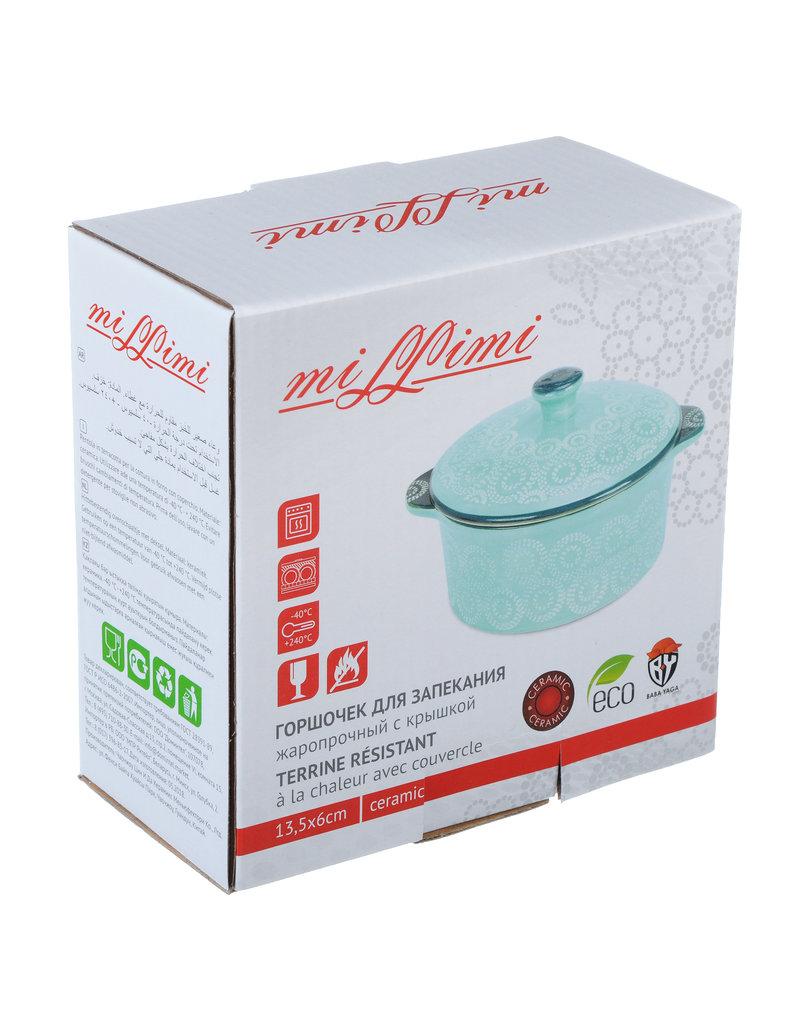 Millimi Millimi - Keramisch ovenschaaltje rond met handgrepen en deksel - aquamarijn - 13,5x6cm - Keramiek