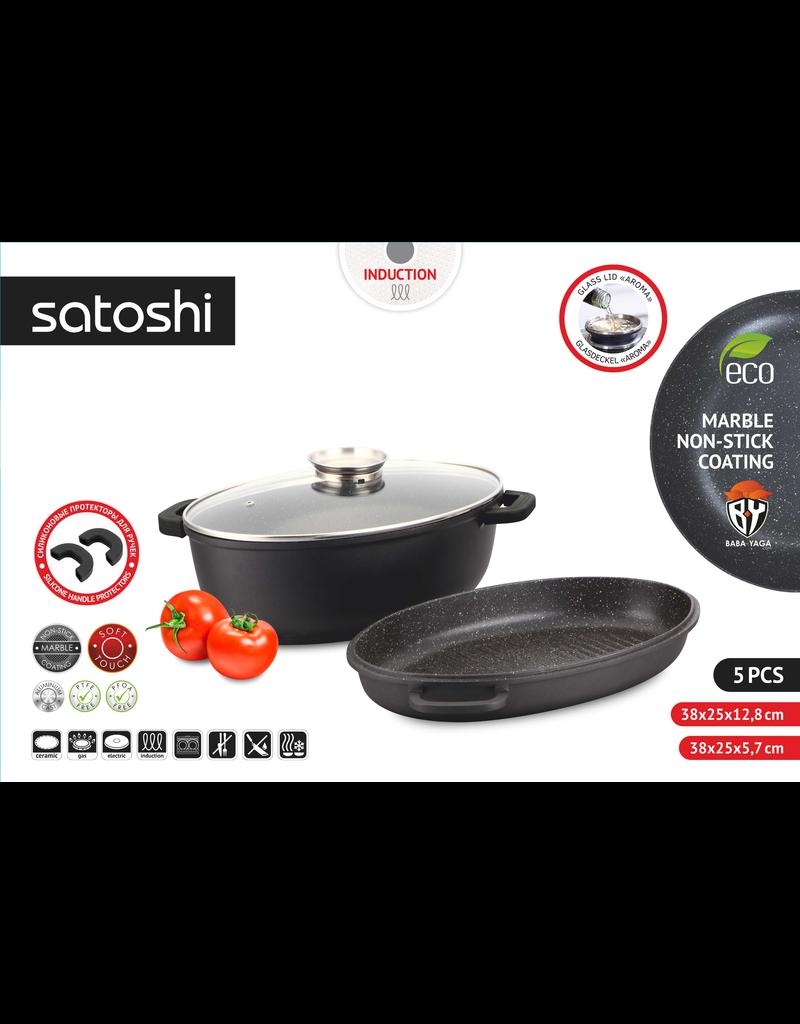 Satoshi Satoshi - Braadpanset van Braadpan en Sauteerpan - Braadschotel / stoofschotel - 5- delig - met Aromadeksel - Afneembare handgrepen - geschikt voor Inductie